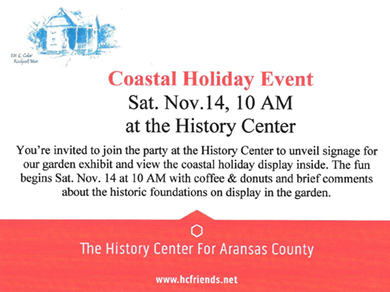 Coastal Holiday Event, Sat. Nov. 14, 10 AM at the History Center